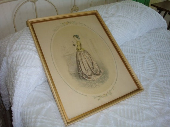 Romantic Vintage French Print Picture Passe Temps Des Dames French Woman in Waiting  Painted Frame