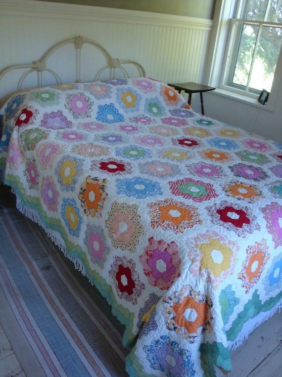 Vintage Grandmothers Flower Garden Quilt 1940s Delightful Prints Speaks of Summer