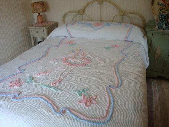 Vintage Chenille Bedspread Ballerina In Pink 1950s 60s