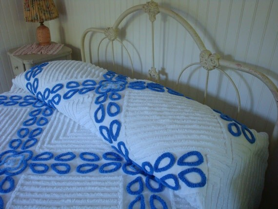 Vintage Chenille Bedspread Deep Marine Blue on White Perfect for a Seaside Cottage