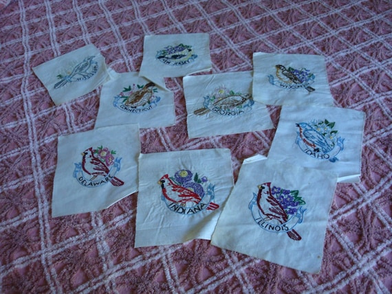 Vintage Quilt Squares State Birds Embroidery