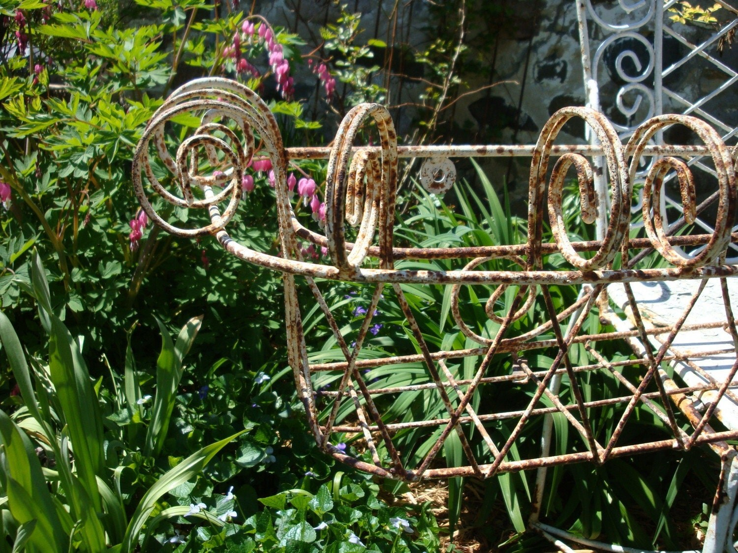 Shabby Antique Wrought Iron Flower Window Box By