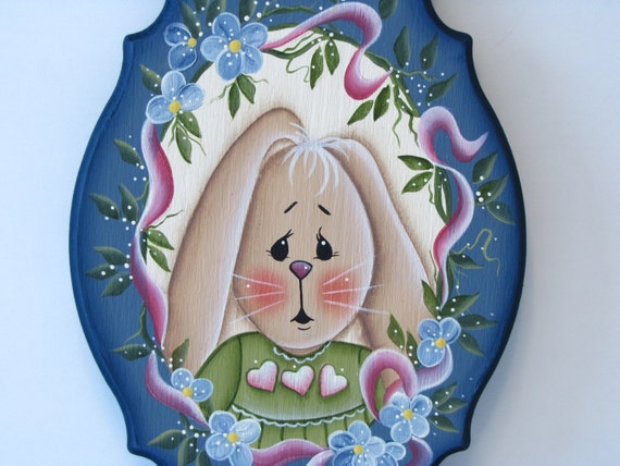 Bunny on Fancy Plaque, Handpainted, Home Decor, Wall Art