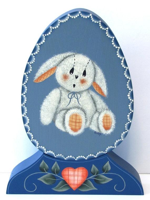 Bunny on Egg Shaped Wood, Handpainted, Home Decor, Shelf Sitter