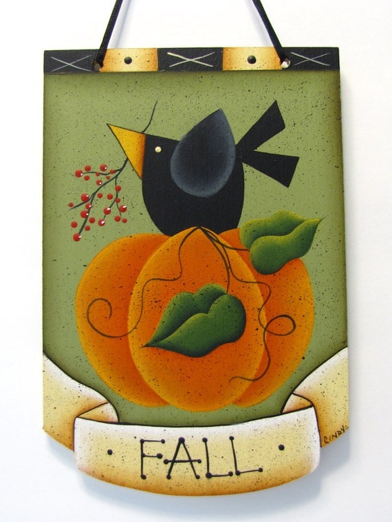 Pumpkin, Crow, Fall Sign, Handpainted, Home Decor, Wall Art