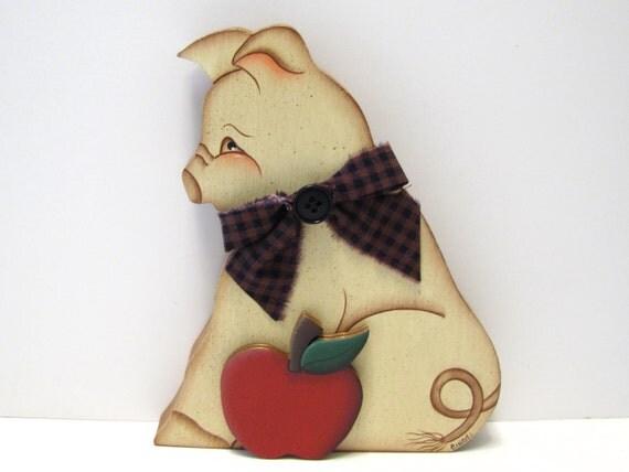 PIF, Pay It Forward, Primitive Folk Art Pig with Apple, Shelf Sitter