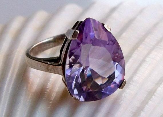 REDUCED WAS 85 February birthstone purple amethyst pear shape gemstone sterling silver ring size 6