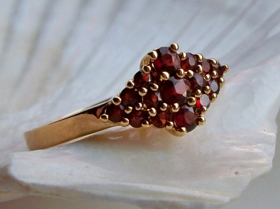 SALE see shop announcement - Bohemian garnet gold plated ring size 10