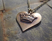RESERVED FOR KRISTA - Oxidised Brass Heart and Crown Necklace