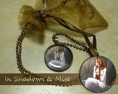 Sale! Boo-boo Glass Pendant - In Shadows and Mist - Copper Necklace