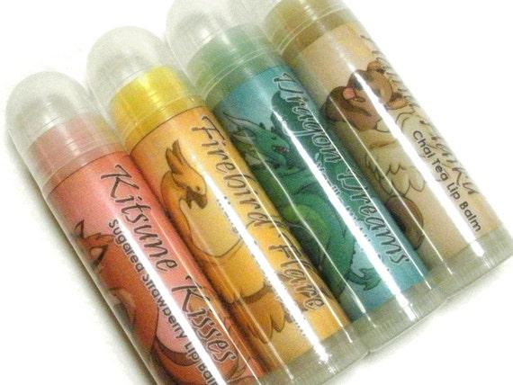 Sale! 4 Fantasy Lip Balms - Mint, Strawberry, Chai, Mango