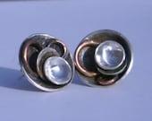 Sterling Silver/Copper Domed Earrings