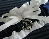 """Navy and White """"Peace"""" Garter"""
