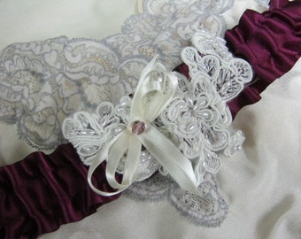 Dark Plum and Ivory Garter