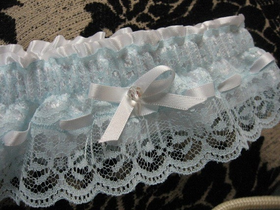 Pale Blue Lace with White Satin Garter