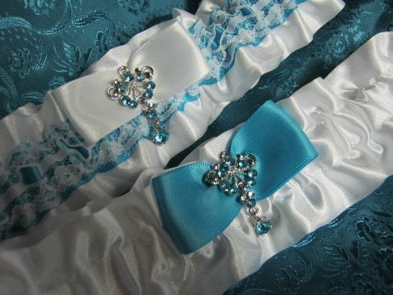 Tiffany Blue and White Garter Set