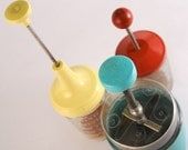 Vintage Food Chopper Trio in Yellow, Red, and Turquoise