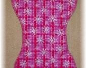 Burp Cloth - Snowflakes on Pink Plaid