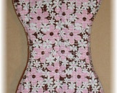 Burp Cloth - Pink and Brown Flower Print