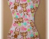 Burp Cloth - Monkeys Hearts Pink
