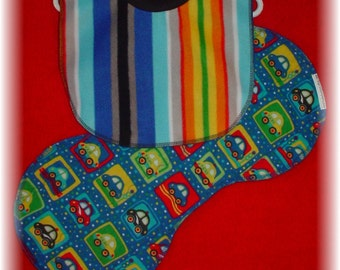 Pull Over Baby / Toddler Bib and Burp Cloth Set - Stripes and Cars