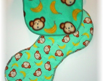 Pull Over Baby / Toddler Bib and Burp Cloth Set - Monkey Face and Bananas