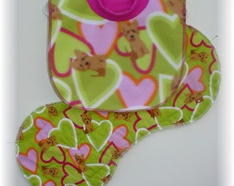 Baby Bib Pullover and Flannel Contoured Burp Cloth Set - Hearts and Puppies