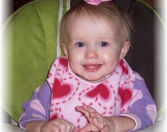Pull Over Baby / Toddler Bib - Heart Print Stitch