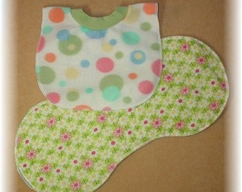 Baby Bib and Burp Cloth Set - Flowers and Dots