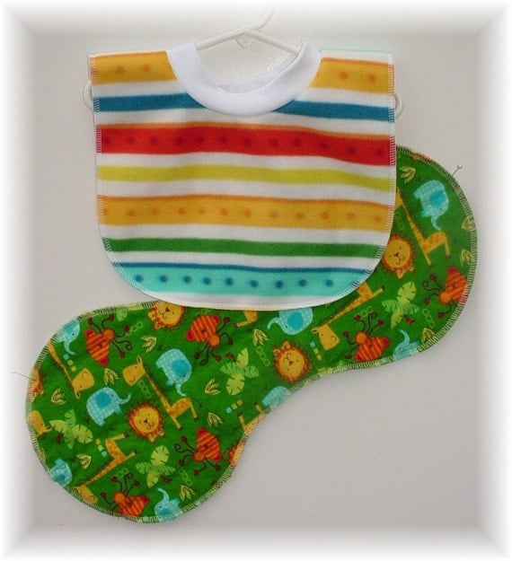 Pull Over Baby / Toddler Bib and Burp Cloth Set - Jungle Animals Bright