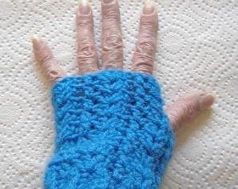 Ladies Lacy Fingerless Gloves - Blue - Made in Your Size