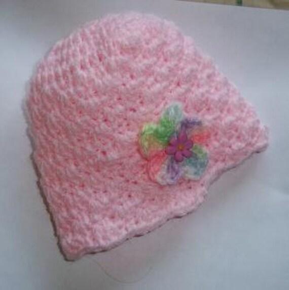 Pink Shell Swirl Baby Hat - Newborn size