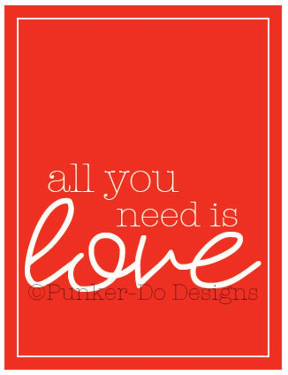 """INSTANT DOWNLOAD Printable Wall Art LOVE in """"red"""" - Valentine, Anniversary, Holiday…"""
