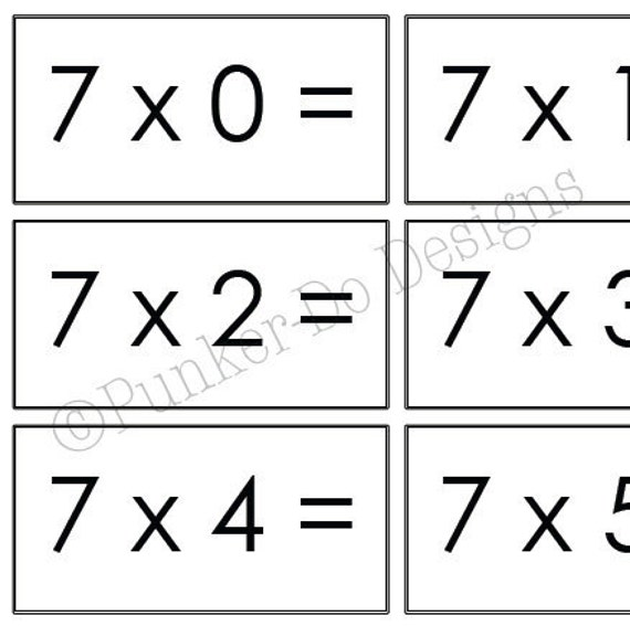 items similar to multiplication math flash cards 1x 12x instant download printable pdf. Black Bedroom Furniture Sets. Home Design Ideas
