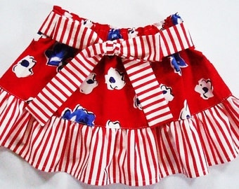 Sale - Little Ruffle Skirt Blue and White Roses on Red  Cotton Print Available in size 1T 2T 3T 4T