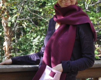 ON SALE Plum Burgundy Pink Pocket Fleece Skarf