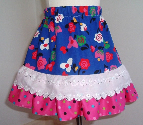 Sale - Little Colorful Cotton Ruffle  Polka Dot  White Scalloped Eyelet  Skirt  Toddler Girl Available in sizes  3T 4T 5 6 7