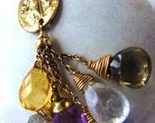 Gemstone cluster necklace, hand patined gold filled wire wrapped, hook closure.