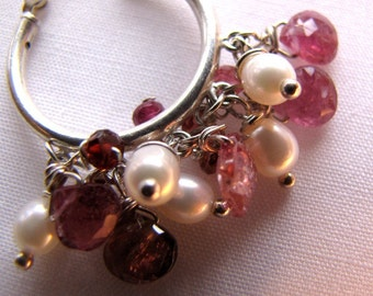 Hoop earrings in winsome pink, red and pearl white are ready to ship.
