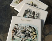 RESERVED for MARIE KRUM: Alice in Wonderland Coasters - Set of 4