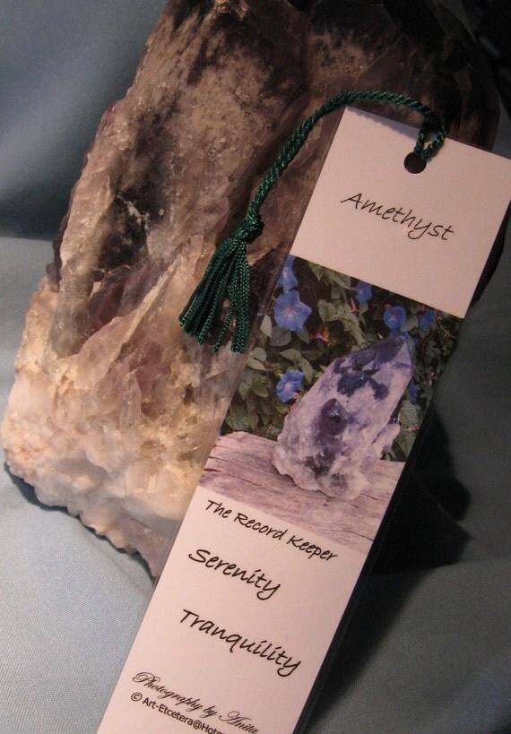 Amethyst Quartz Crystal Metaphysical Laminated Bookmark / Record Keeper Crystal