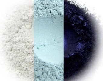 Blue Smoke Eyeshadow Trio - Sparkling Snow, Ice, Blue Black