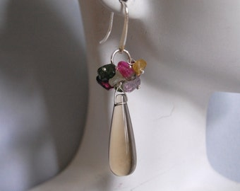 Smoky quartz smooth  long drop and multi tourmaline earrings
