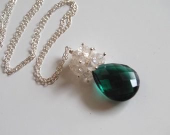 AAA Chrome green quartz and rock crystal  Pendant Necklace