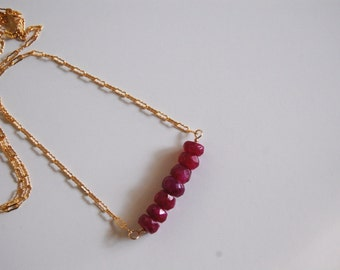 Bar Necklace- July Birthstone  Ruby necklace - Genuine Ruby Necklace- Birthstone - necklace with Gold filled Chain