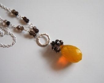 Yellow  Crystal quartz and Smoky quartz necklace