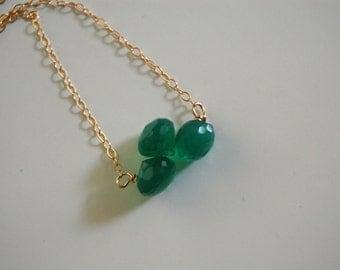 Emerald green quartz  onion briolette necklace