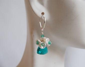 Paraiba blue Quartz  Cluster Earrings with Keishi pearls and green Onyx- Dangle Earrings