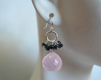Rose quartz onion briolette and Mystic Spinel dangle earrings
