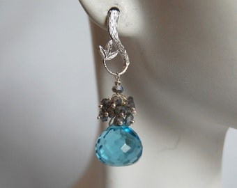 Blue quartz  onion briolette and pyrite  earrings